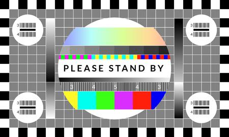 Retro-TV-Testbildschirm. Altes Kalibrierungs-Chip-Diagrammmuster