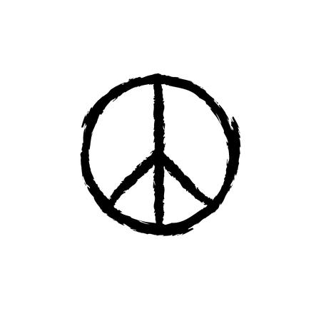 Circular peace sign. Hippie symbol black icon Illustration