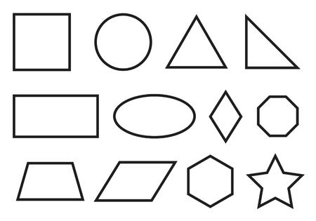 Ensemble de formes géométriques simples. Icônes de primitives géométriques