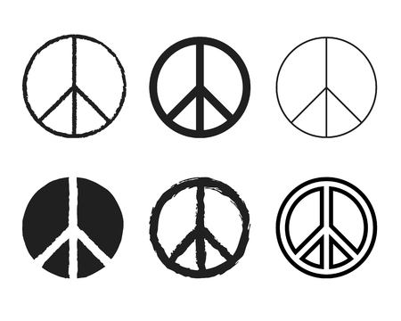 Set of round peace sign. Nuclear disarmament icons set Illustration