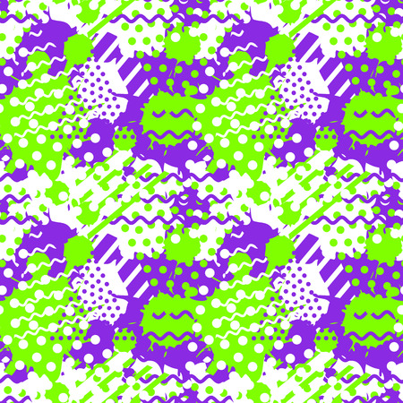 Abstract tile pattern with dots, geometric and fluid shapes