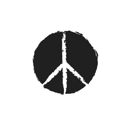 Round textured hippie peace sign for printing