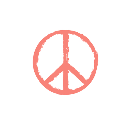 Peace sign with grunge texture isolated on background Illustration