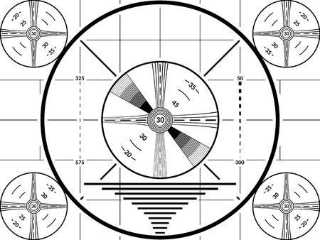 Schermo di prova TV vintage. Modello di calibrazione della televisione in bianco e nero Vettoriali