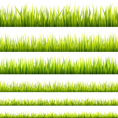 Fresh and green spring grass sprouts and herbal growth seamless banners. Springtime lawn panorama in a sunlight. Foliage lines for website footers and decorations