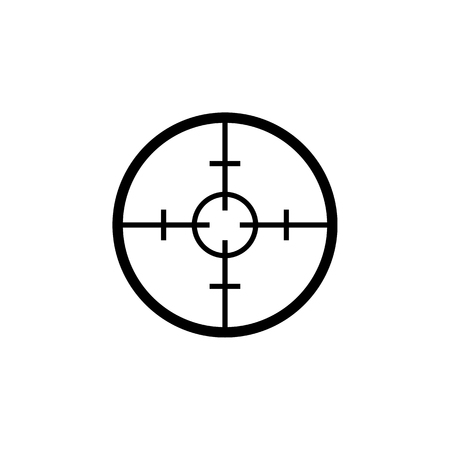 Simple sniper target black icon isolated on white background.