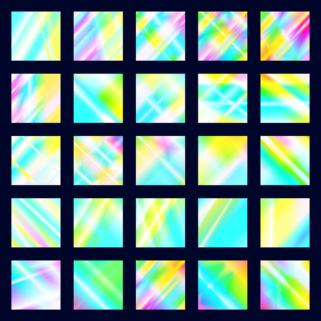 Set of iridescent disco textures. Holographic prism backgrounds. Rainbow glow reflections of light dispersion and reflection in the glass Illustration
