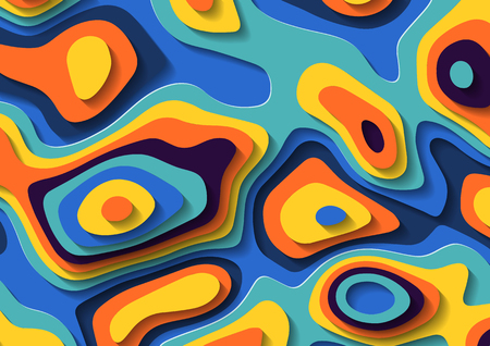 Abstract liquid paper cut background. Multicolored fluid lava stains. Geometric topography footprints