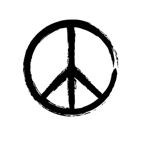 Grunge texture hippie round peace black sign