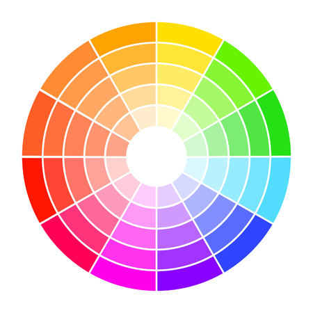 Color wheel guide with saturation and highlight. Colour picker assistant