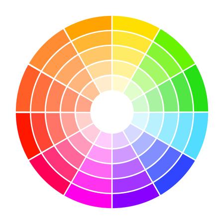 Guide de roue de couleur avec saturation et surbrillance. Assistante de sélection de couleurs