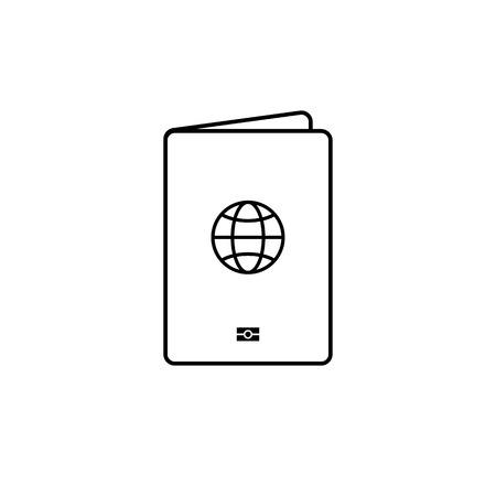 Isolated black thin line passport simple icon