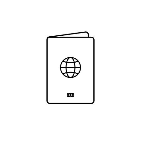 Isolated black thin line passport simple icon