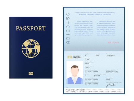 International male biometric passport booklet and cover template