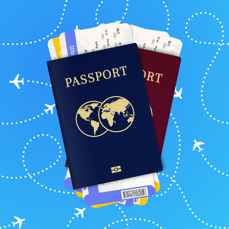 Travel by plane. Biometric passport and airline tickets 일러스트