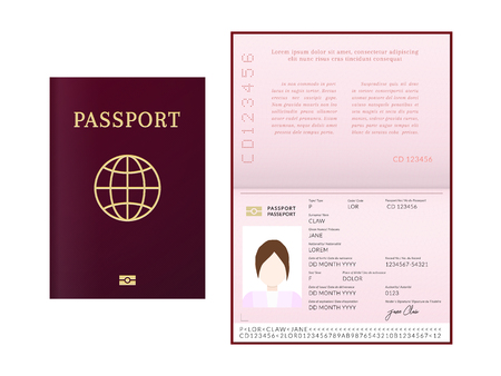 International female biometric passport booklet and cover template