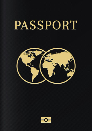 International biometric passport cover page. Black top page of a citizen ID document