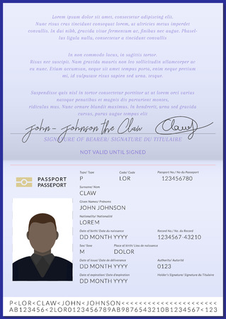 Afro American passport booklet template with photo and biometric chip Illustration