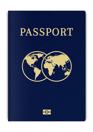 International biometric passport cover page. Blue top page of a citizen ID document