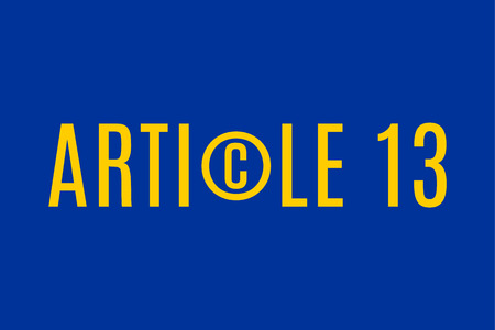 Article 13 directive concept illustration with copyright symbol Illustration