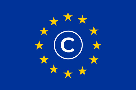 Article 13 concept with copyright symbol on Flag of Europe