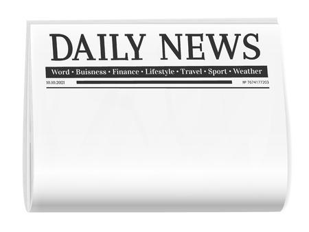 Journal plié. Fond blanc pour le modèle de page d'actualités