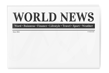 Folded newspaper. Blank background for news page template Illustration