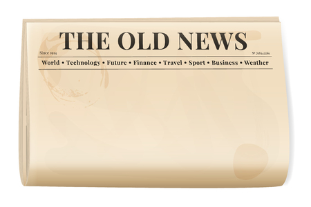 Vintage newspaper template. Folded cover page of a news magazine