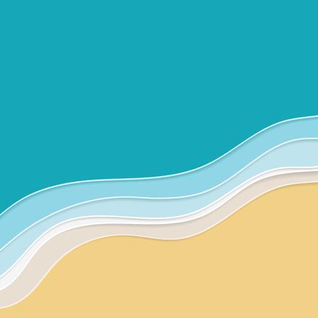 Fond d'eau de mer ou d'océan. Illustration de dessin animé Papercut avec effet multicouche Vecteurs