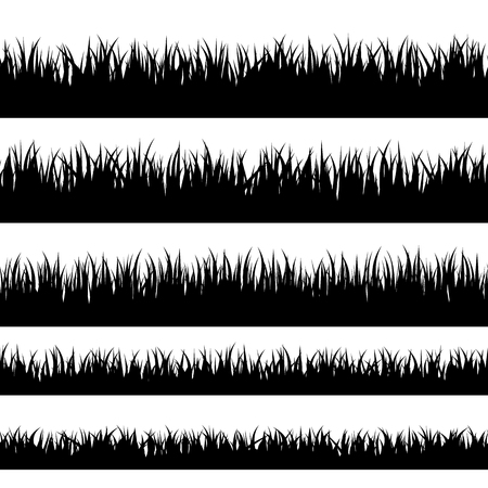 Grass silhouette. Turf coating banners for edging and overlays Vettoriali