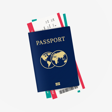 Travel by plane. Biometric passport and airline tickets 向量圖像