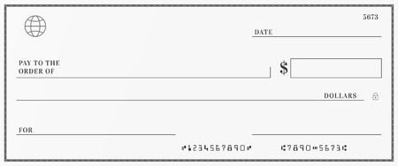 Blank template of the bank check. Checkbook cheque page with empty fields to fill