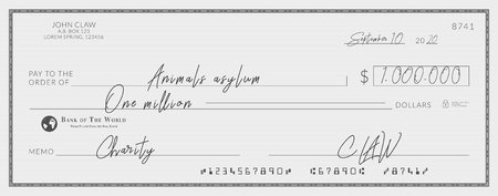 Bank check signed for charity. One million dollars donation for the animals asylum Illustration