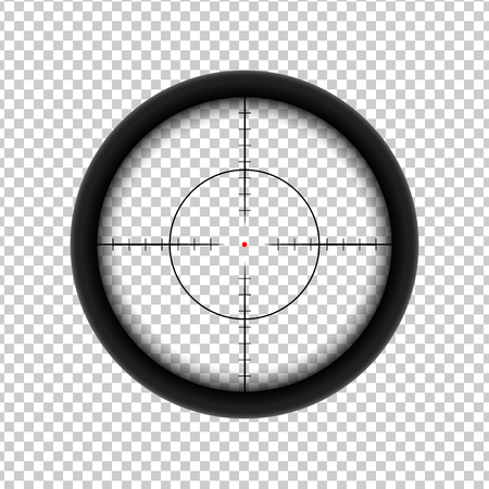 Sniper AR crosshairs icon with red target dot Illusztráció