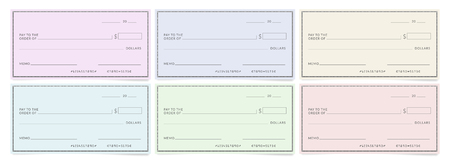 Bank cheques templates. Blank personal desk checks