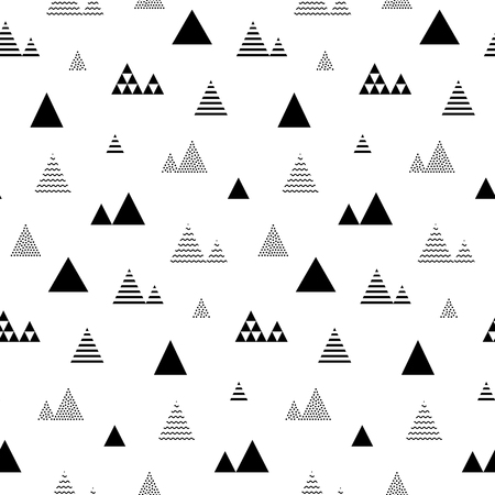 Triangles seamless pattern. Abstract geometric repeat with little and tiny triangular shaped trees or homes