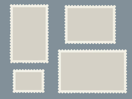 Postage stamps template. Blank marks for postcards and travel postal cards