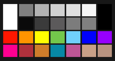 Color samples chip chart for colour calibration