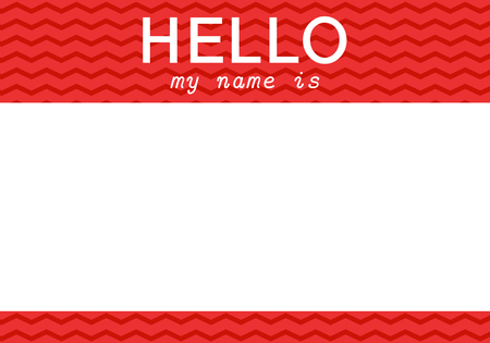 Red name tag. Hello my name is - label Illustration