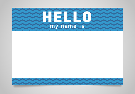 Blue name tag. Hello my name is - sticker