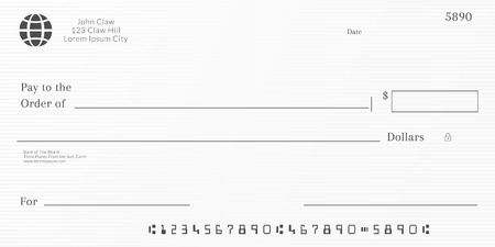 Bank check template. Checkbook page background with empty fields