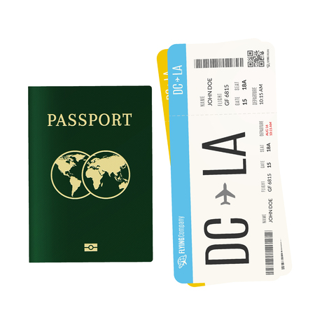 Airplane tickets and international biometric passport. Travel and vacation concept