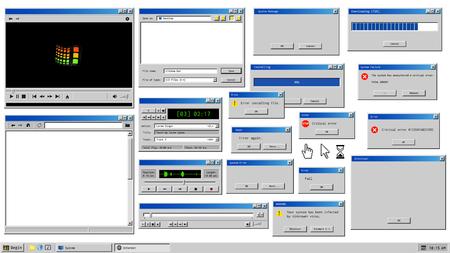 Interfaz de usuario antigua. Ventanas de navegador retro y ventana emergente de mensaje de error. Maqueta de reproductor multimedia vintage, grabadora de voz y cuadro de diálogo con información del sistema. Iconos de ratón de computadora pixelados Logos