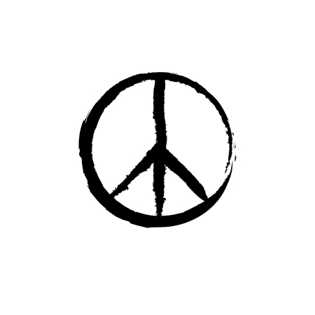 Peace sign with grunge texture. Round hippie sign for printing