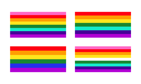 Different types of Pace and Rainbow flags of LGBT sexual minority community.