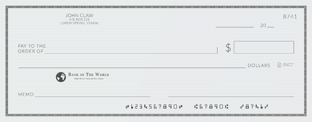Blank bank cheque. Personal desk check template with empty field to fill Illustration
