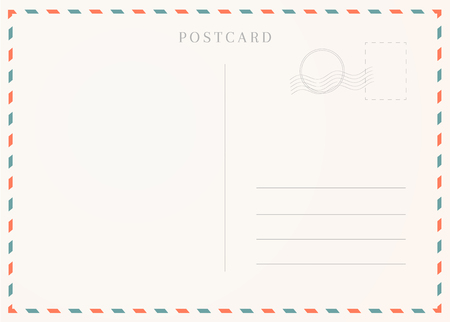 Vintage postcard template. Postal card illustration for design.