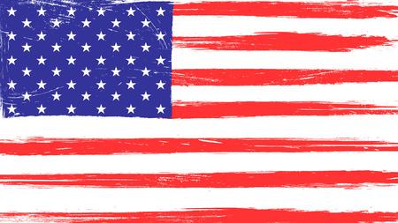 Drapeau américain vintage avec texture grunge, rayures et traces de pinceau