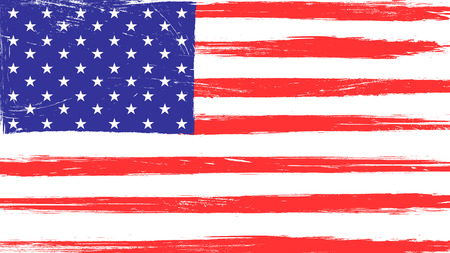 Vintage American flag with grunge texture, scratches and brush traces Illustration