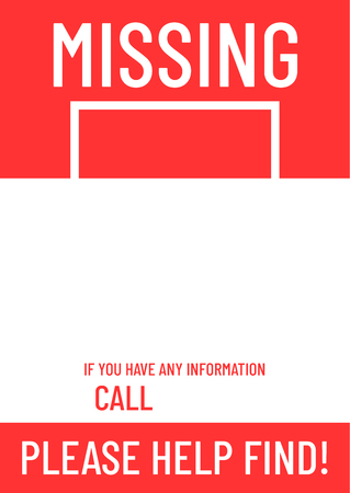 Blank missing poster template ready to print. Illustration